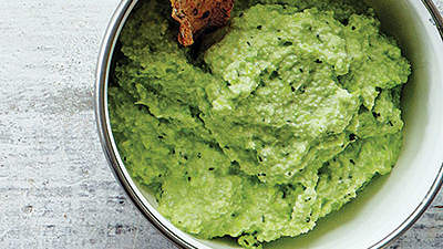 Herby Edamame Dip With Buckwheat Crackers