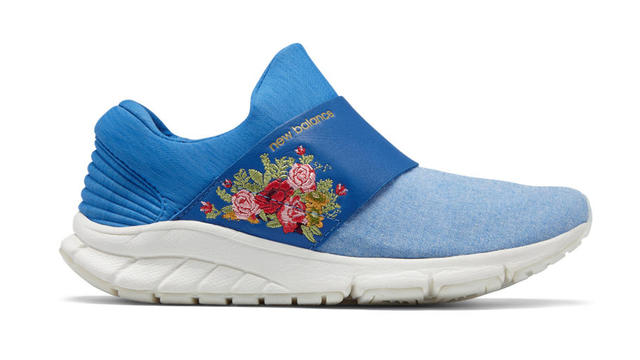 ... newbalance.com. Inspired by Belle\u0027s blue apron, this chambray shoe is  designed for easy, casual wear. With no laces and an embroidered floral ...