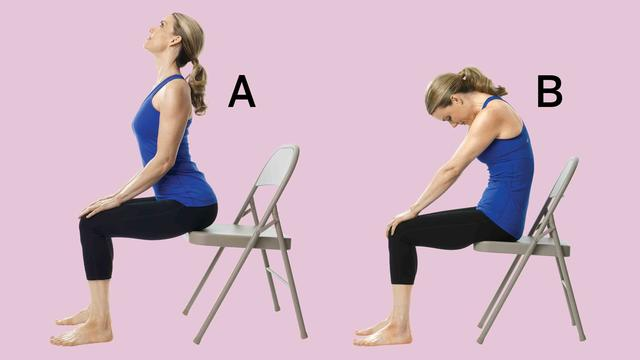 /></a></p>  <h3><strong>2. Cat/Cow</strong></h3>  <p>Sit at edge of chair with feet flat on the floor. Place hands on knees and inhale, lifting chest and sticking hips out behind you. Lift gaze, open chest, and gently squeeze shoulder blades together (A). On an exhale, round chest, scoop in belly, and curl tailbone under as you drop head toward sternum (B). Repeat for a series of 10 cycles.</p>  <p><strong>RELATED: <a target=