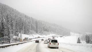 Line of traffic in a Colorado blizzard