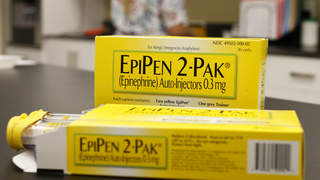 Mylan NV EpiPen 2-Pak medication sits on a table inside a pharmacy in Provo, Utah, U.S., on Wednesday, Aug. 31, 2016.