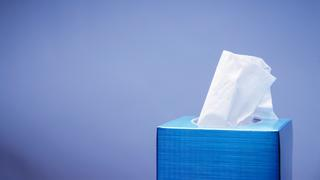 Blue tissue box with white tissue
