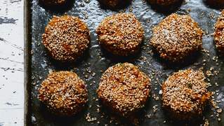 Deliciously Ella Natural Feasts Baked Sweet Potato and Sesame Falafels recipe